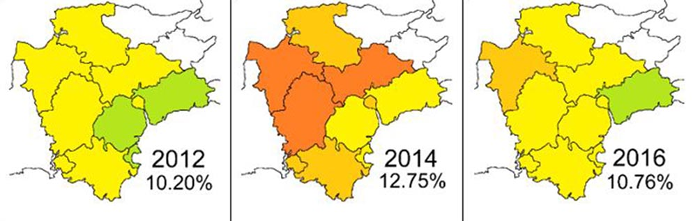 Fuel poverty map of Devon 2012-2016
