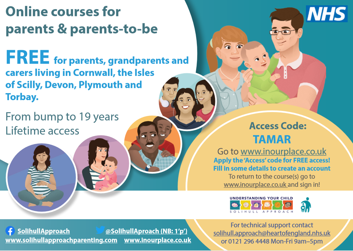 Free online antenatal, postnatal and parenting courses poster
