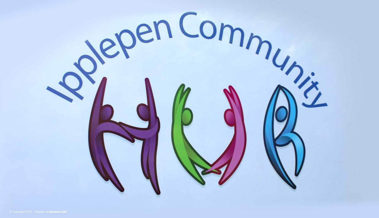 Our logo was designed by a young villager and the word Hub features dancing figures having fun.