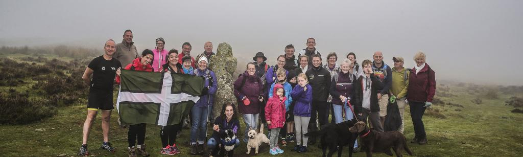 the first group of walkers launch the Walk for Widecombe