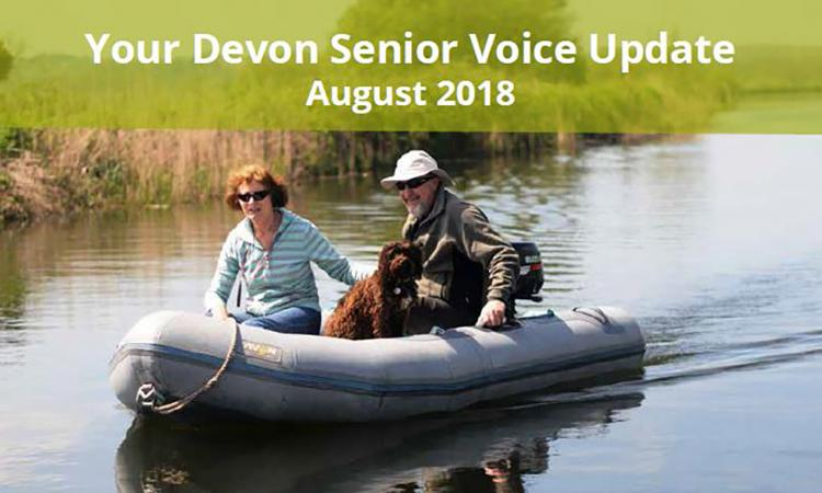 Devon Snior Voice newsletter heading, lady and man on river boat