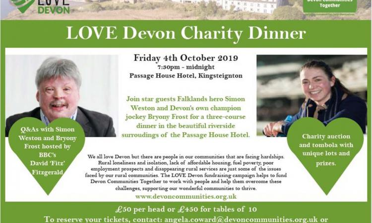 LOVE Devon charity dinner flyer 4th October 2019