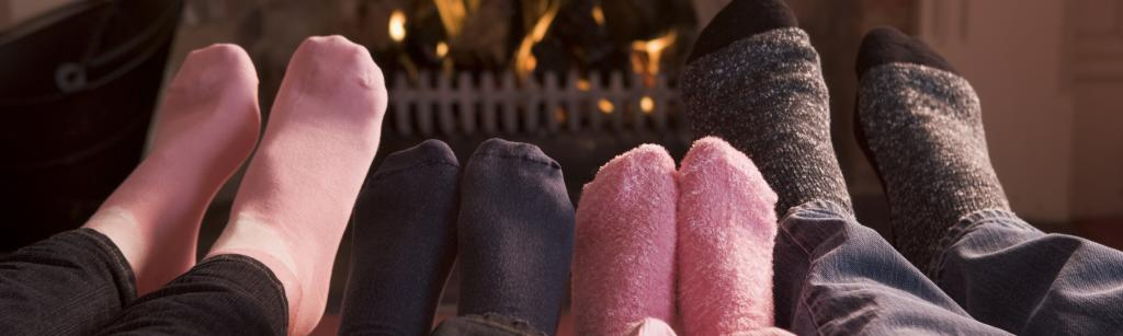 Feet by cosy fire